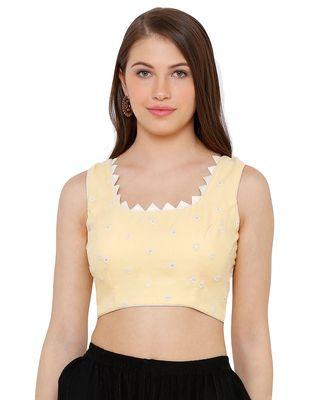 Women's Yellow Cotton chikan Readymade Saree Blouse