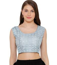 Women's Silver Cotton Readymade Free Size Saree Blouse