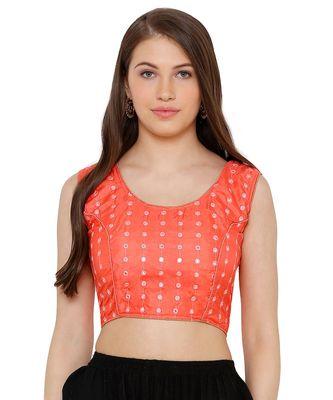 Women's Peach Cotton Readymade Free Size Saree Blouse
