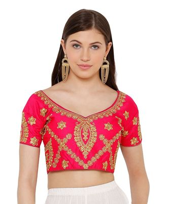 Women's Pink Silk Blend Readymade Free Size Saree Blouse
