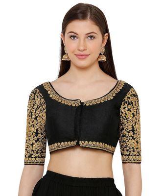 Women's Black Silk Blend Readymade Free Size Saree Blouse