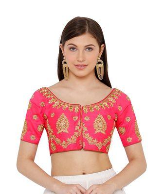 Women's Pink Silk Blend Readymade Free Size Saree Blouse
