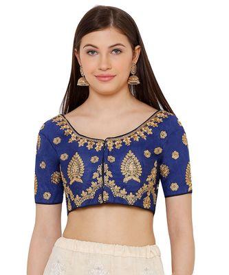 Women's Blue Silk Blend Readymade Free Size Saree Blouse
