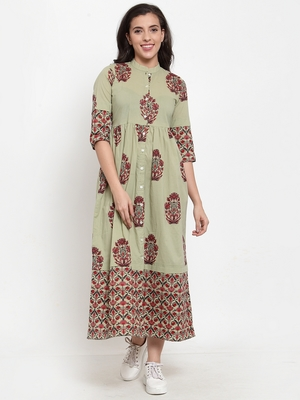 Indibelle Green printed cotton maxi-dresses