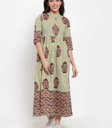 Indibelle Green printed cotton maxi-dresses