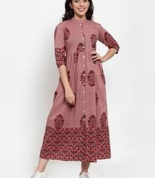 Indibelle Purple printed cotton maxi-dresses