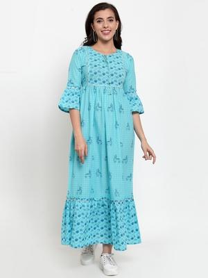 Turquoise printed cotton maxi-dresses