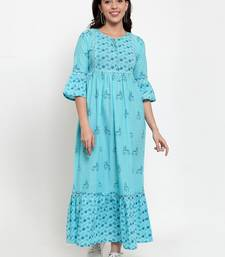 Indibelle Turquoise printed cotton maxi-dresses