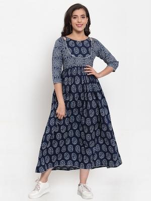 Indibelle Blue printed cotton maxi-dresses