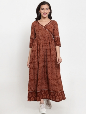 Indibelle Brown printed cotton maxi-dresses