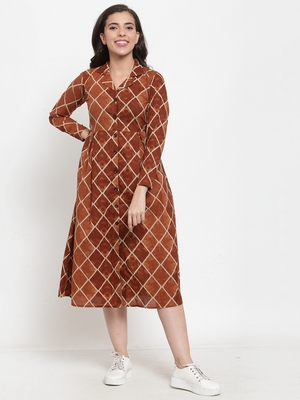 Indibelle Brown printed cotton maxi-dresses