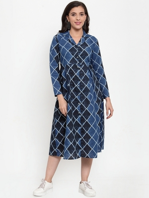 Blue printed cotton maxi-dresses