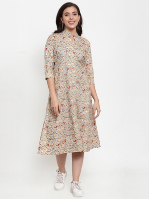 Indibelle Peach printed cotton maxi-dresses