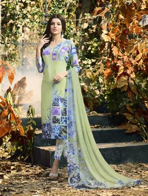 Parrot-green digital print crepe salwar