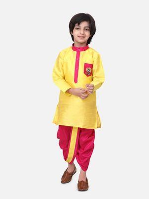 Yellow Pocket Embroidery Dhoti Kurta For Baby Boy