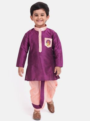 Purple Pocket Embroidery Dhoti Kurta For Baby Boy