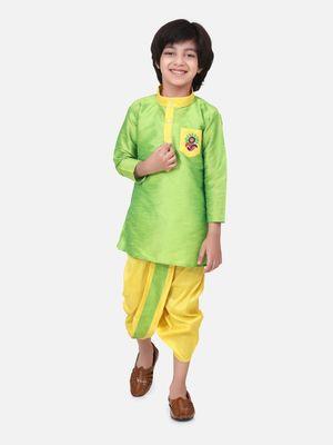Green Pocket Embroidery Dhoti Kurta For Baby Boy