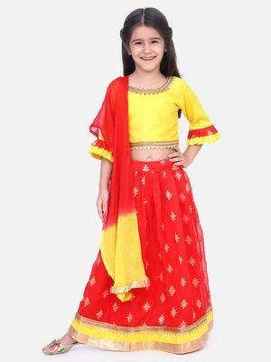 Red Chiffon Brocade Lehenga choli for Girls