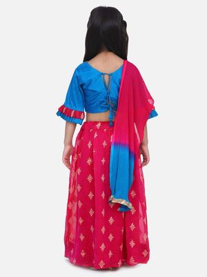 Pink Chiffon Brocade Lehenga choli for Girls