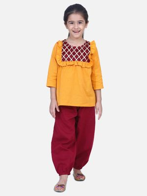 Yellow Cotton Full Sleeve Top with Harem