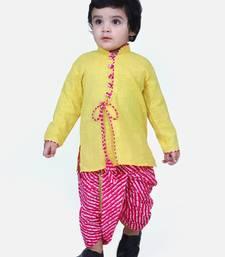 Yellow Front Open Cotton Full Sleeve Kurta with Dhoti