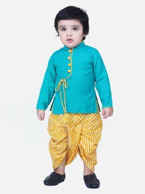 Green Front Open Cotton Full Sleeve Kurta with Dhoti