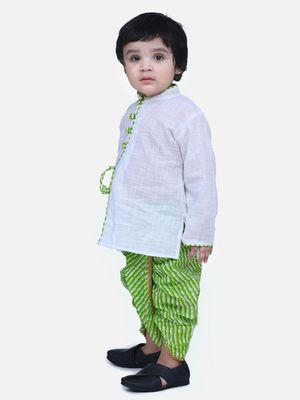 White Front Open Cotton Full Sleeve Kurta with Dhoti