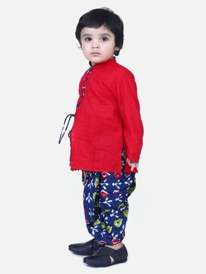 Red Front Open Cotton Full Sleeve Kurta with Dhoti