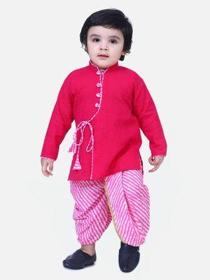 Pink Front Open Cotton Full Sleeve Kurta with Dhoti