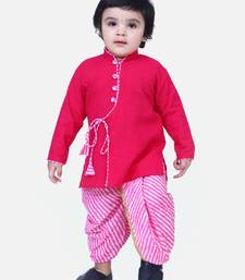 Pink Front Open Cotton Full Sleeve Kurta with Dhoti