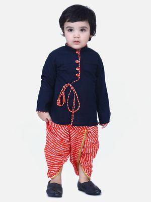 Navy Blue Front Open Cotton Full Sleeve Kurta with Dhoti