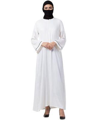 Musheco White Cotton Rayon Abaya