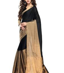 Black And Gold Color Cotton Saree with Zari Weaving and Blouse Original Saree shop online