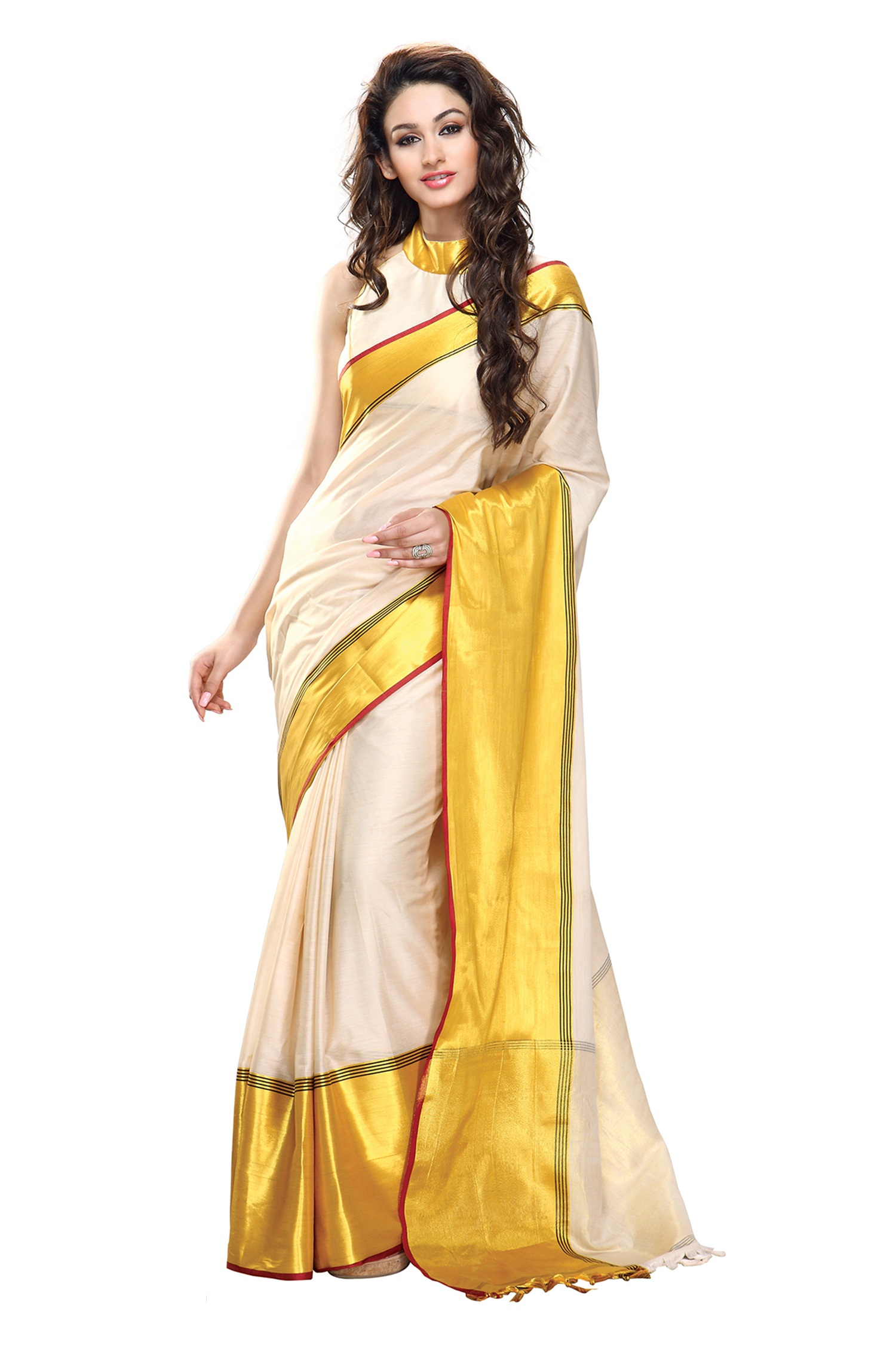 4322450628 White and Yellow Color Cotton Saree with blouse - Fashion House - 463364