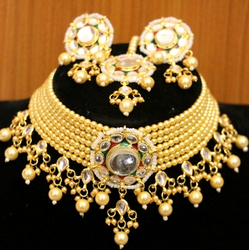 Yellow crystal necklace-sets