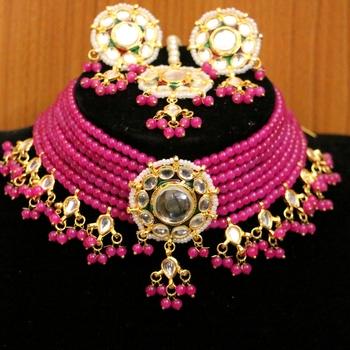 Pink crystal necklace-sets