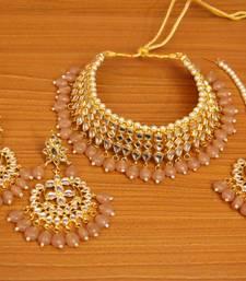 Beige crystal necklace-sets
