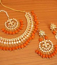 Orange crystal necklace-sets