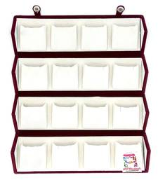 atorakushon Velvet 16 Pair Earrings Organizer Jewellery Box for Women and Girls cream