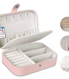 ATORAKUSHON PU LEATHER JEWELLERY BOX RING BOX EARRINGS NECKLACE ORGANISER CREAM FOR WOMEN'S 1pcs
