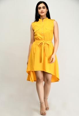 Yellow plain crepe short-dresses