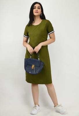 Green plain crepe short-dresses