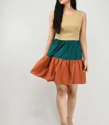 Multicolor plain crepe short-dresses