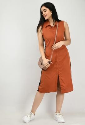 Brown plain crepe short-dresses