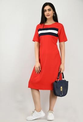 Red plain crepe short-dresses