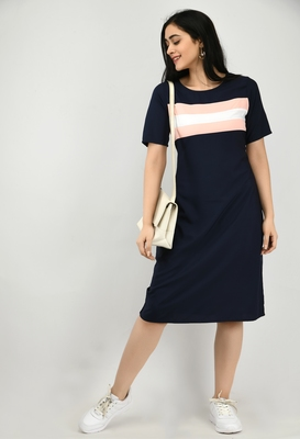 Navy-blue plain crepe short-dresses