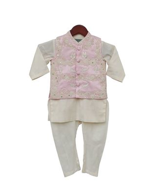 Pink Embroidery Jacket with Offwhite Kurti and Churidar