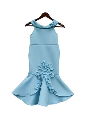 Blue Neoprene Fish Cut Dresss