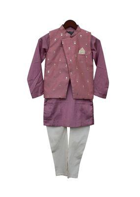 Purple Foil Printed Nehru Jacket with Kurta & Churidar