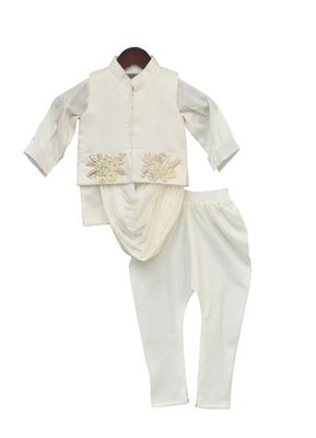 Offwhite Embroidery Nehru Jacket Set